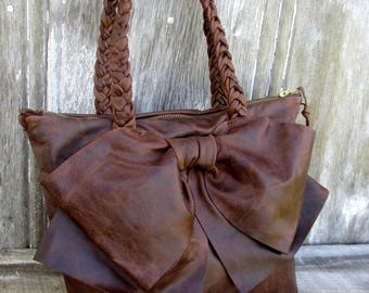Leather Bow Petite Handbag in Distressed Chocolate Brown -Feminine - Rustic  Soft Leather - Small Handbag - Leather Bow Purse by Stacy Leigh