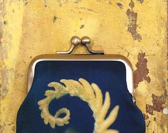 Coin purse, blue and yellow fern, silk pouch, bracken frond