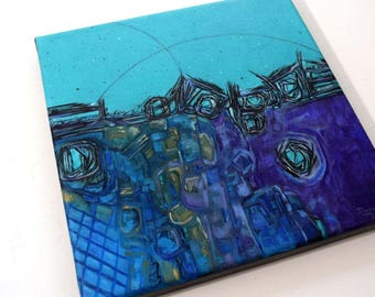 Abstract Painting, FREE Shipping,  Cityscape, Painting, Contemporary art, Acrylic Painting, Art, Painting, Abstract, Purple, Home Decor