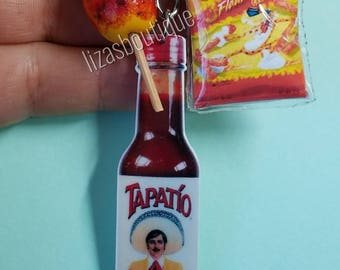 Chili lover tapatio sauce keychain hot cheetos mango chile spicy food chamoy clay charms key chain handmade chips flaming hots hot