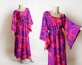 Vintage 1960s Maxi Dress - Late 60s Early 70s Psychedelic Hot Pink Angel Wing Hippie Maxi Dress - Purple Floral Print - Hawaiian - Tiki