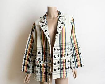 Vintage Embroidered Guatemalan Jacket - Open Front Little People Hand Holding Chain - Rainbow Striped - Linen Pockets Souvenir Medium