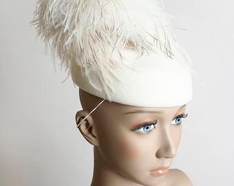Vintage 1960s Hat - White Ostrich Feather Pillbox Formal Evening Statement Hat - Round Bell Hop - Adolfo