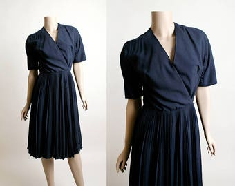 Vintage 1960s Dress - Anne Fogarty I. Magnin Dark Navy Blue Pleated Wrap Dress - Casual Full Blue Pleat Skirt -  Small