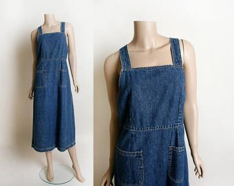 Vintage Overall Dress - 1980s 1990s Blue Denim Jean GAP Overall Jumper Maxi Dress - Pinafore Apron - Pockets - Medium