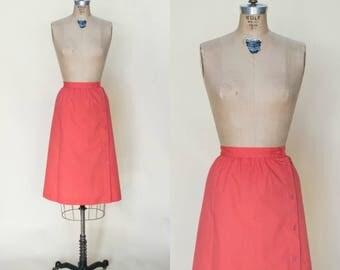 1970s Knee Length Skirt --- Vintage Pink Skirt