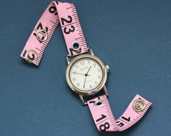 Tape Measure Watch in Light Pink - Round Face - Statement Jewelry created with Upcycled Measuring Tape