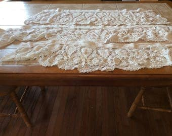 Crochet Valances Vintage Linen Lot Value Bundle of 3 White Crochet Valances - B119