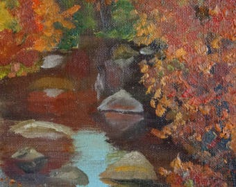 Woodland Original Painting Creek in Fall/Autumn with Affirmation Encouragement Signed 6 x 8