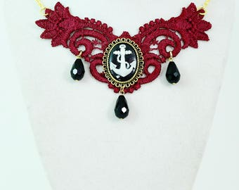 Victorian Anchor - Cameo Bib Necklace In Burgundy and Gold