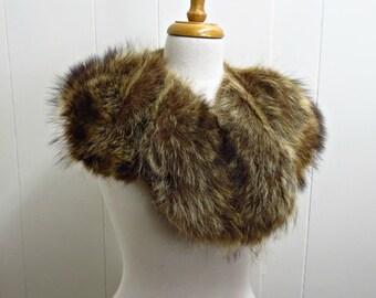 Vintage Racoon - Natural Racoon Collar - Vintage Fur Collar -Vintage Fur Stole - Fur Wrap - Fur Scarf - Retro - Shawl