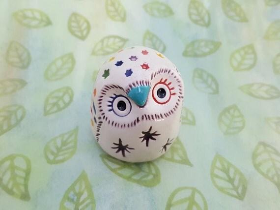 Emmeline the Rainbow Owl Handmade Figurine