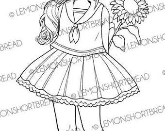 Digital Stamp Sailor Dress Sunflower Girl, Digi Download, Flower Floral, Thinking of You, Coloring Page, Clip Art Scrapbooking Supplies