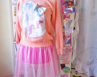 Sheer lace skirt, pink pastel slip retro lingerie fairy kei drag queen size XL 2X Extra Large bridal gift