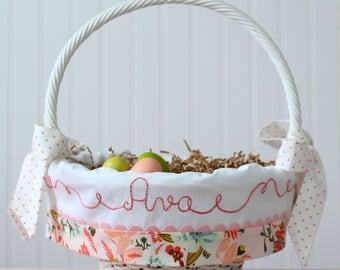 PRE-ORDER 2019 Easter Basket Liner Personalized, Newborn Baby Girl, Monogrammed Basket Liner fits Pottery Barn Kids basket