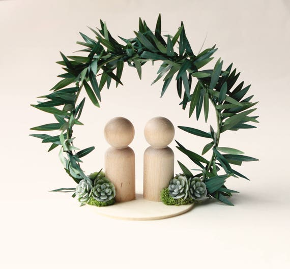 Botanical Cake Topper, Woodland wedding, Simple cake top, wedding cake topper, bride and groom decoration, moss and succulent cake topper