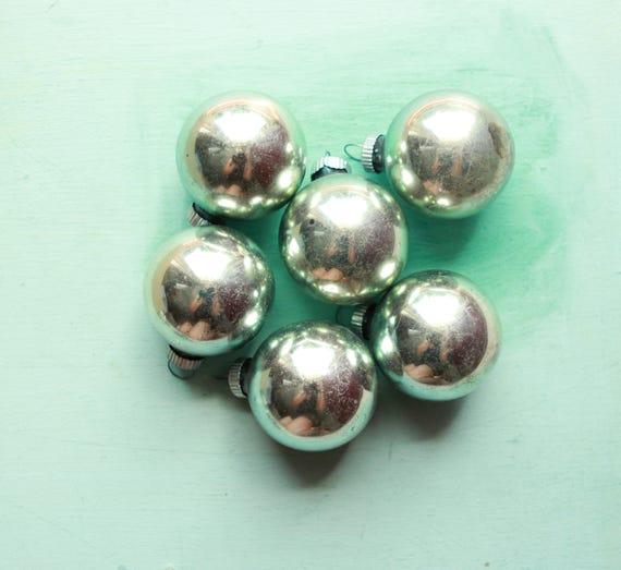 "Shiny Brite vintage ornaments - SET of 6 - 2"" balls, Soft pastel green, Mercury glass balls, christmas tree ornaments, holiday decor, teal"