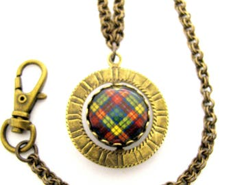 Scottish Tartan Jewelry - Ancient Romance Series - Buchanan Watch Fob & Chain w/Button Loop Double-Sided Tartan/Clan Motto