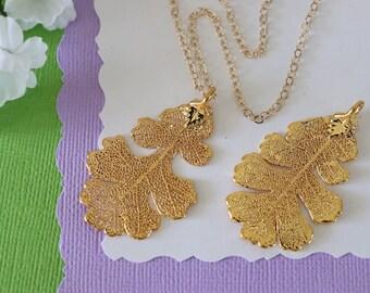 Gold Oak Leaf Necklace, Real Leaf Necklace, Lacey Oak Leaf, Gold Leaf Necklace, Long Leaf, Leaf Pendant LC220