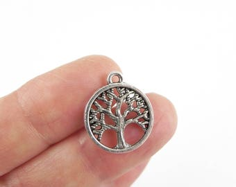 12 Tree Pendant Charms  - 18mm x 15mm - Double Sided - Tree Branches