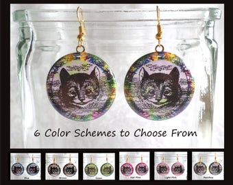 Cheshire Cat Earrings - 6 Color Schemes to Choose From