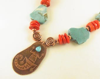 Etched Copper Lizard with Magnesite Turquoise and Bamboo Coral
