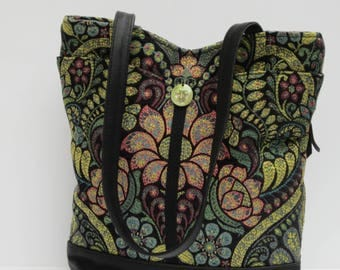 RESERVED FOR  Leapinglizzards99  Tote Bag Stained Glass Floral with Black Leather