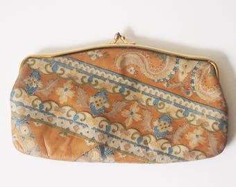 Vintage 1970s Leather Wallet Pouch / Genuine Leather Coin Purse / Money Holder / 70s Leather Paisley Purse / MM Morris Moskowitz