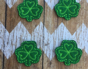 Set of 4 Felt Clovers - St. Patrick's Day Green Hair Accessories Luck Scrapbook Planners - READY TO SHIP