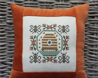 Beehive Garden Bees Pillow Vintage Style Handmade Orange Velvet Ticking Cross Stitch Primitive Rustic Farmhouse Folk Art Fall Autumn Decor