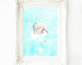 Polar bear print, nursery decor, white bear on a cloud with stars, A4 giclee