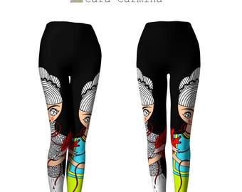 Leggings - Frida Kahlo - Two Fridas one heart - black