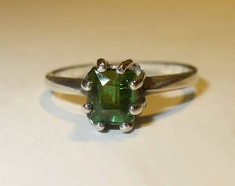 Genuine Tourmaline Solitaire Ring ~ Untreated Natural Green Gemstone in Solid Sterling Silver ~ Size 7 ~ Emerald Cut