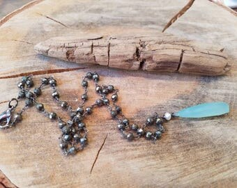 Aqua Blue Chalcedony Stone Necklace Pyrite Stone Chain Oxidized Sterling Silver Necklace