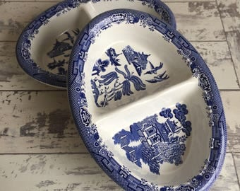 Vintage Blue Willow Divided Dish Churchill China Oval Vegetable Bowl