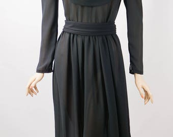 1980s Vintage Dress Sheer Black High Neck by Lizzy & Johnny B36 W28