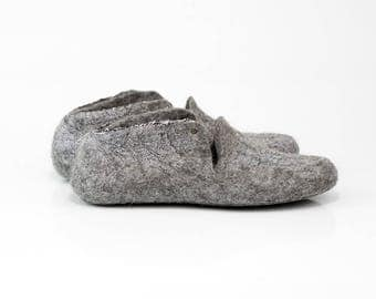 Linen wool slippers Handmade natural wool house shoes Womens slippers Gray
