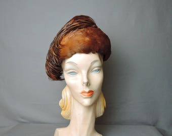 Vintage Feather Hat, Sculpted Dramatic Cocktail Hat, 21 inch head 1960s Marshall Field & Co.