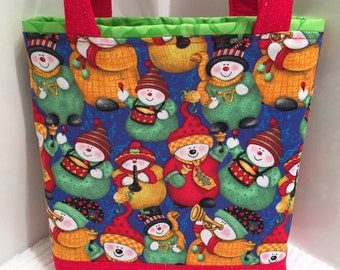 Christmas Gift Bag, Keepsake Fabric Tote, Gift Wrap, Santa Claus, Toddler Toy Tote, Holiday Birthday, Snowmen, Wrapping Paper Alternative