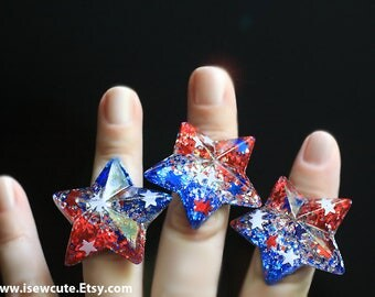 4th July Star Ring, Summer Outdoors, Red White Blue Ring, Summer Party 4th of July Inspired Ring, Jewelry made in the USA by isewcute