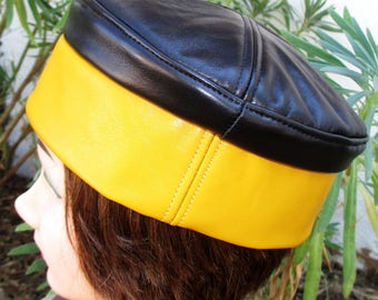 RESERVED for THOMAS WEBSTER /Kufi Hat/ Crown in Black Leather w/ Mustard Yellow Sideband