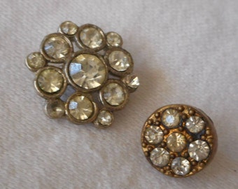 2 VINTAGE Tiny Rhinestone in Metal BUTTONS