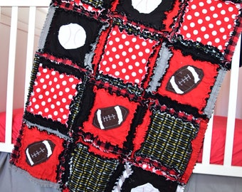 Sports Quilt - Black / Red Crib Bedding - Football Bedding - Football Boy Rag Quilt - Baseball Quilt - Sport Nursery Decor - Sports Blanket