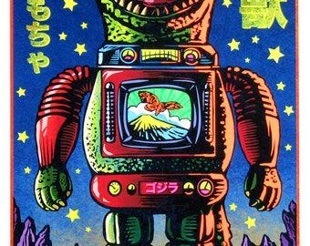Kaiju Toy- Hand Inked Black Light Print- Godzilla Tin Toy