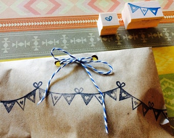 Bunting rubber stamp set  - hand carved and hand crafted
