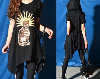 SALE Size S - Missing cat - embroidered cat patchwork hoodie dress / asymmetrical short sleeve T-shirt / summer cotton tunic (Y318)
