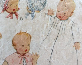 Vintage 40s Infant Layette Nightgown Slip Ruffled Baby Bonnet Sewing Pattern 4964