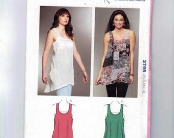 Misses Sewing Pattern Kwik Sew 3795 Misses Hi Low Loose Fitting Tank Tunic Top Sleeveless Summer Size XS S M L XL UNCUT