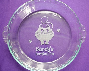 Custom Cat Lovers Gift, Engraved Catalicious Pie Plate, Personalized Purrfect Baking Dish, Two Designs and Pie Plate Sizes Available - #9