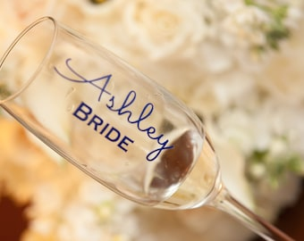 Personalized Bridal Party Champagne Glass Decals, Custom Wedding Party Champagne Glasses. Glasses NOT Included